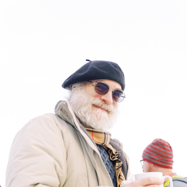 An old man with ice cream