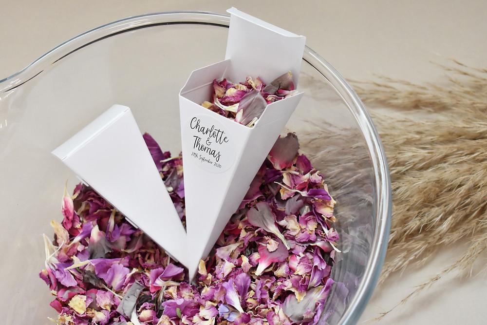 wedding confetti | confetti cone | bright confetti