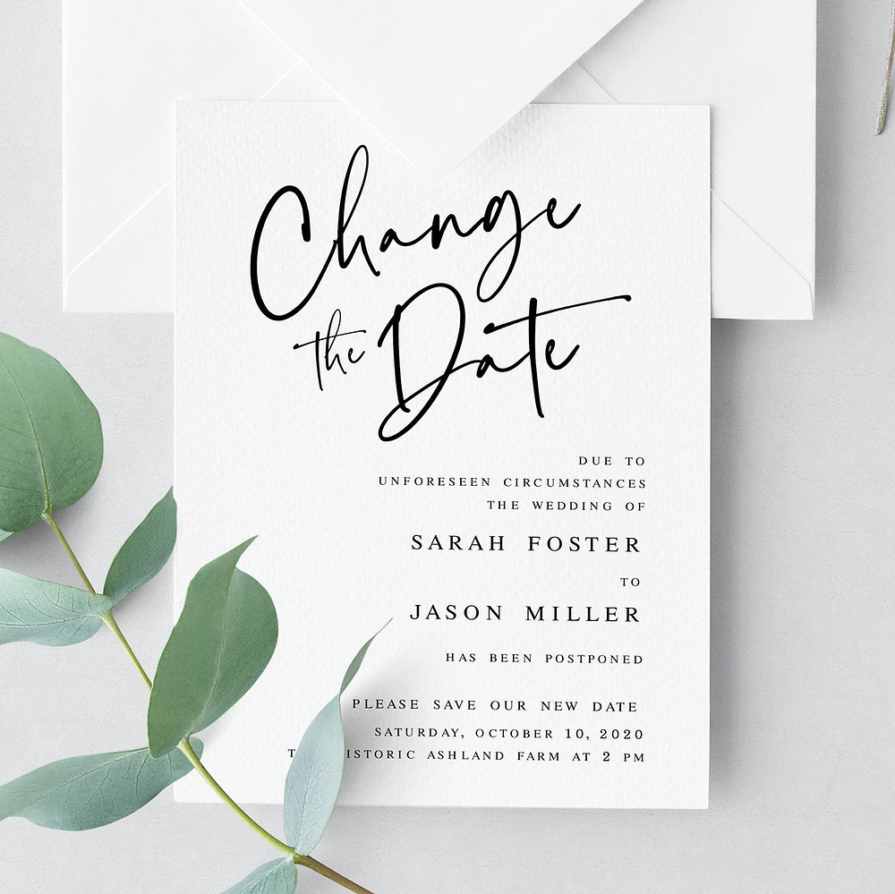 Wedding Stationary | Change the date | Covid Wedding