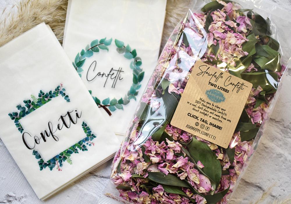 Pink Rose Petal Confetti | Biodegradable Confetti Packets | Leaf Confetti