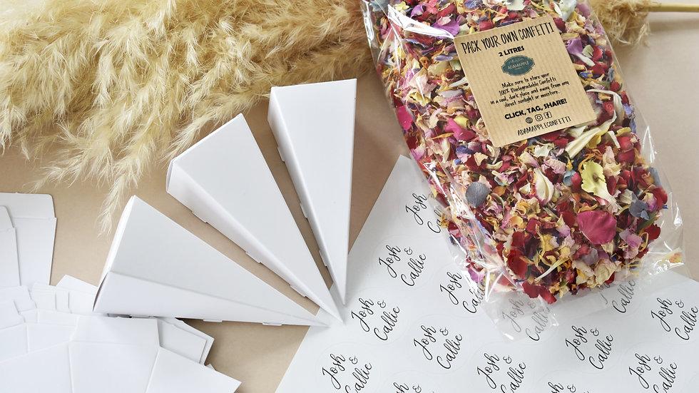 Personalised DIY Confetti & Cones 30 Guests