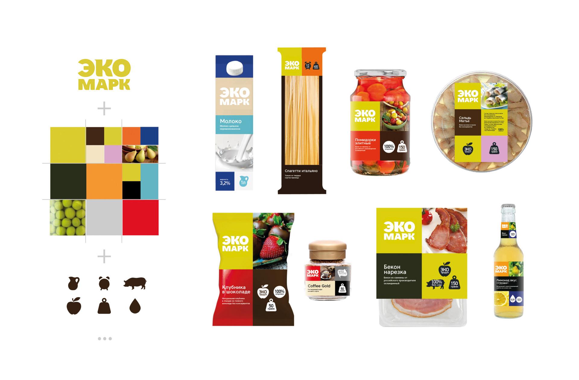 Идея. Дизайн упаковки состоит из модулей-плашек: логотипа на контрастном фоне, иконок преимуществ и изображения продукта