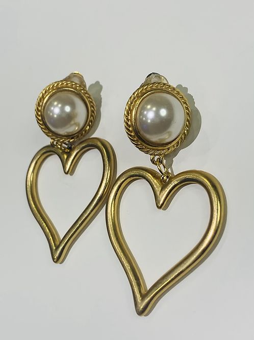 Hearts and Pearl Earrings
