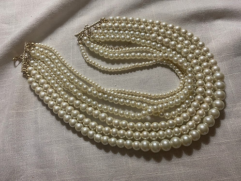 Seven Strand Pearl Necklace (Faux)