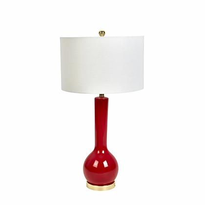 "32"" Ceramic Skinny Table Lamp Red"