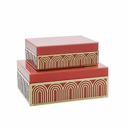 "Wood 8/9"" Box w. Arch Design, Set of 2"
