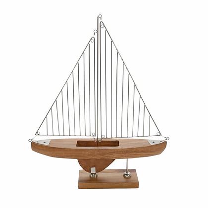 Wood/Metal Wire Sailboat