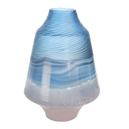 """Glass 14"""" Vase Blue/Pink"""