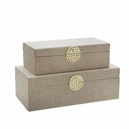 "Wood 7/10"" Box w. Medallion Set of 2"