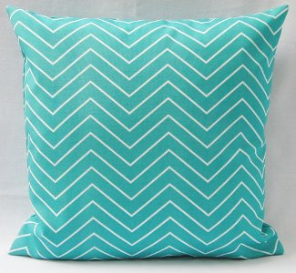 Outdoor Turquoise Chevron Throw Cushion