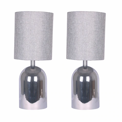 "21"" Glass Dome Table Lamps Silver"