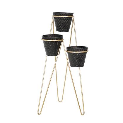 Metal 3 Tier Planter Black/Gold