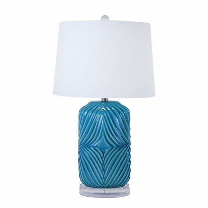 "28"" Barrel Table Lamp, Teal"