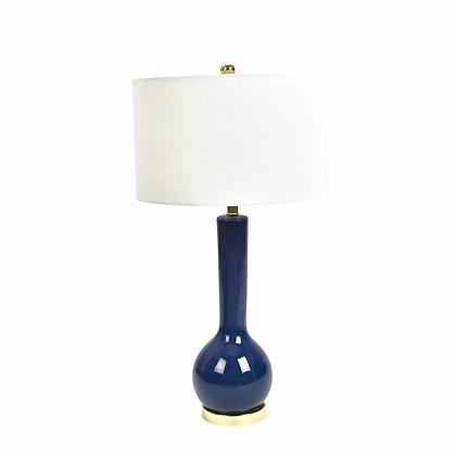 """Ceramic 32"""" Skinny Table Lamp, Navy Blue"""