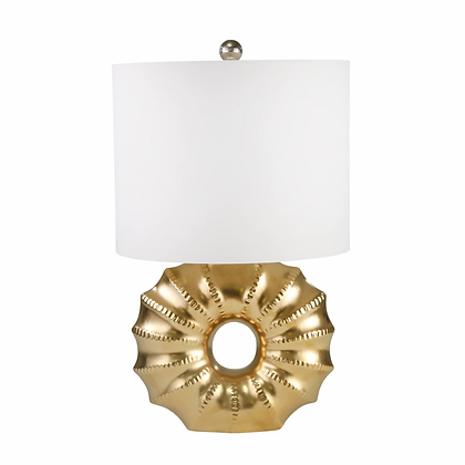 "Ceramic 25"" Ringed Table Lamp Gold"