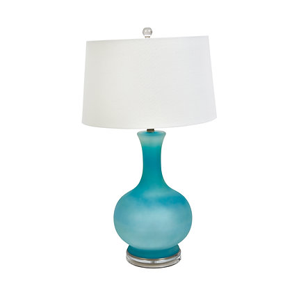 """31"""" Glass Round Table Lamp, Light Blue"""
