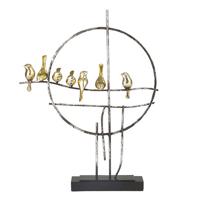 """Resin 19"""" Birds on Metal Stand"""