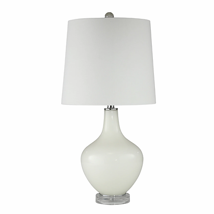 "Glass 28"" Teardrop Lamp White"