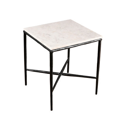 Metal/Marble Square Side Table