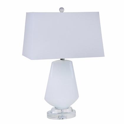 "Glass 26"" Diamond Shape Lamp - White"