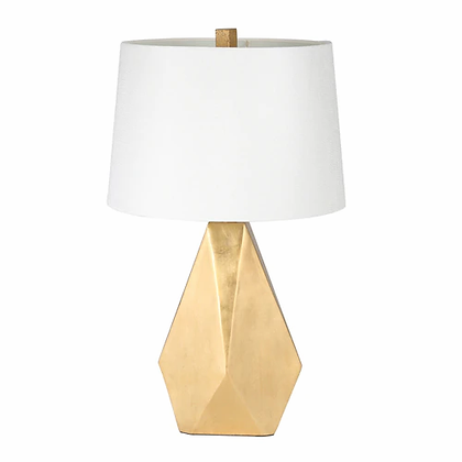 "Resin 26"" Multifaceted Table Lamp, Gold"
