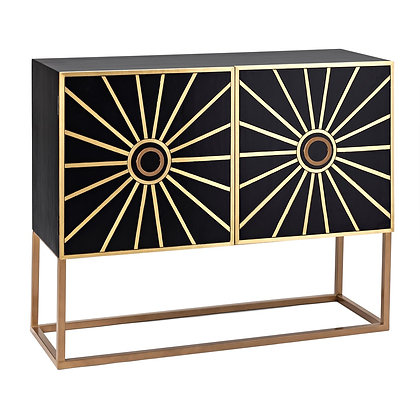 Tribute Black Wood Chest with Gold Metal Inlay