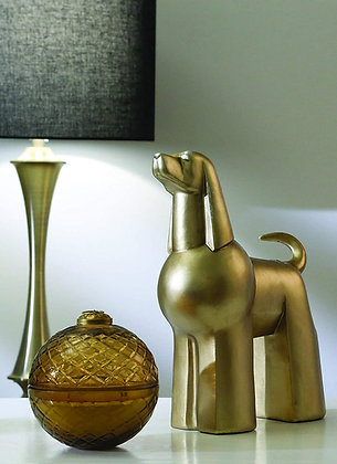 """Resin 12"""" Poodle, Gold"""