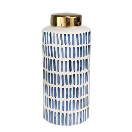 """Ceramic 13"""" Jar w Gold Lid, Blue"""