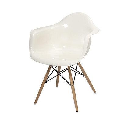 Arturo White Acrylic Chair w. Wooden Legs