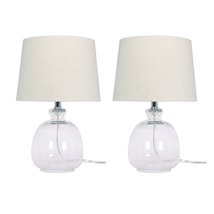 """17"""" Glass Table Lamps Clear"""