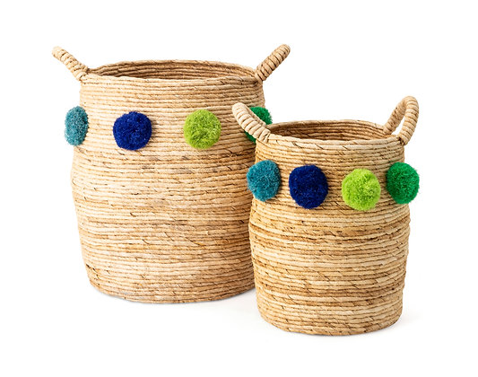 Pom Pom Baskets - Set of 2