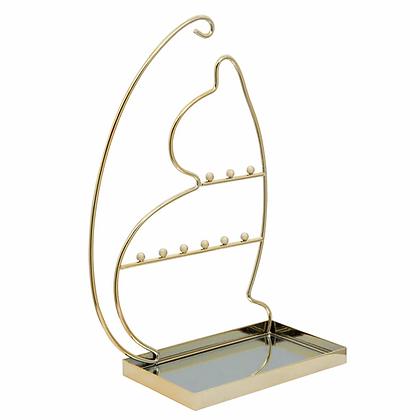 "13"" Cat Jewelry Rack Gold"