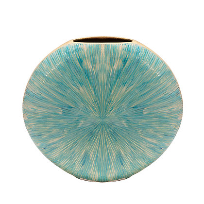 "14"" Decorative Metal Vase Turquoise"