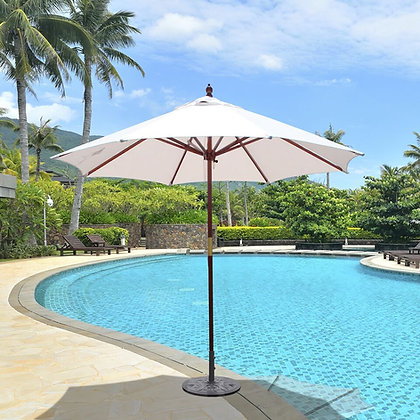 9' Wooden Umbrella w. Sunbrella Shade