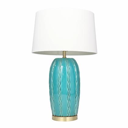 """Ceramic 31"""" Ribbon Table Lamp Teal"""