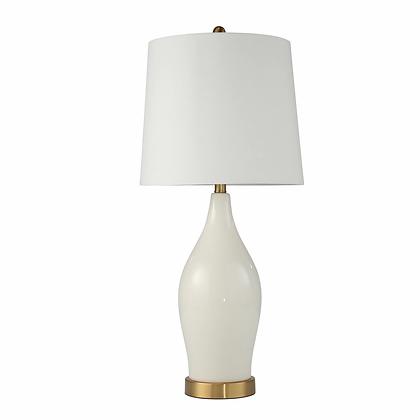 "Ceramic 31"" Table Lamp w. USB,  White"