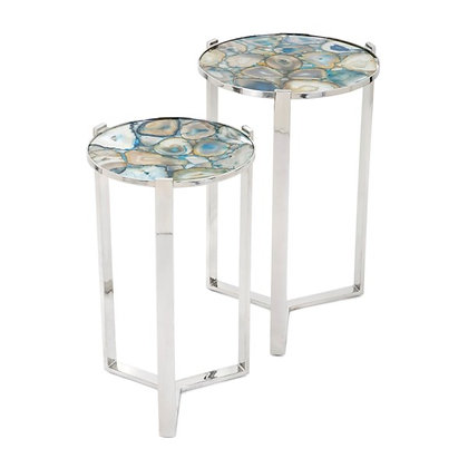 Agate Blue Stone Round Tables - Set of 2
