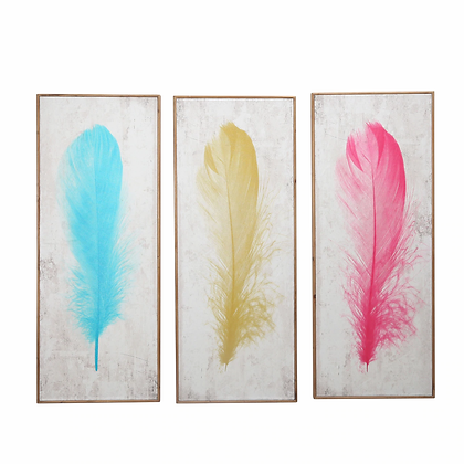S/3 Feather Wall Decor