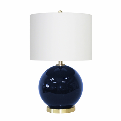 "25"" Round Table Lamp, Navy Blue"