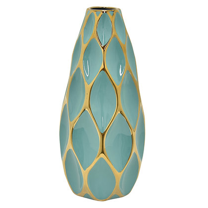 Porc. Vase Turquoise & Gold
