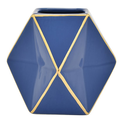 Porc. Vase Blue & Gold