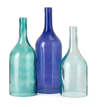 Monteith Blue Cloche Bottles - Set of 3