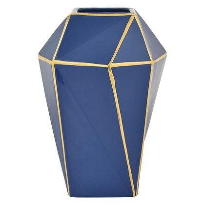 Porc. Vase Blue & Gold