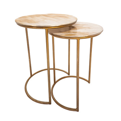 S/2 Metal Side Tables, Cream