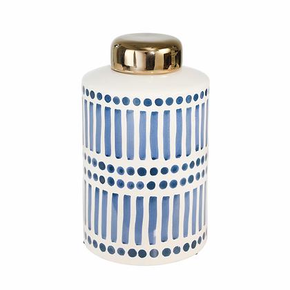 """Ceramic 9.5"""" Jar w Gold Lid, Blue"""