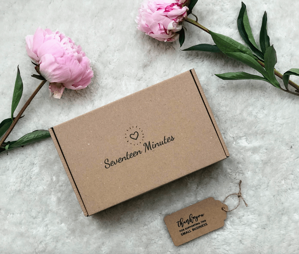 gift box, pink peonies, flowers, seventeen minutes letterbox gift, present, peonies, parcel,