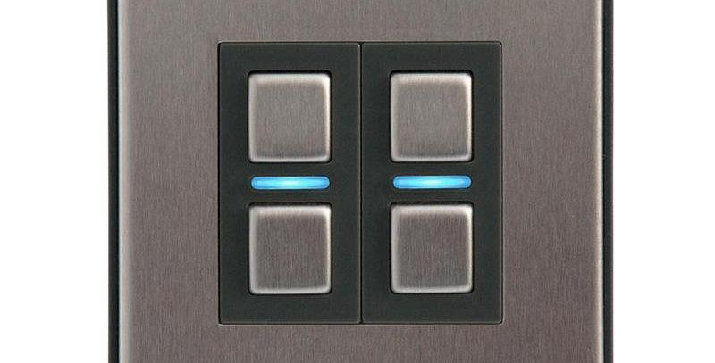 Întrerupător inteligent dimabil fără nul, 2 acționări, Lightwave, HomeKit