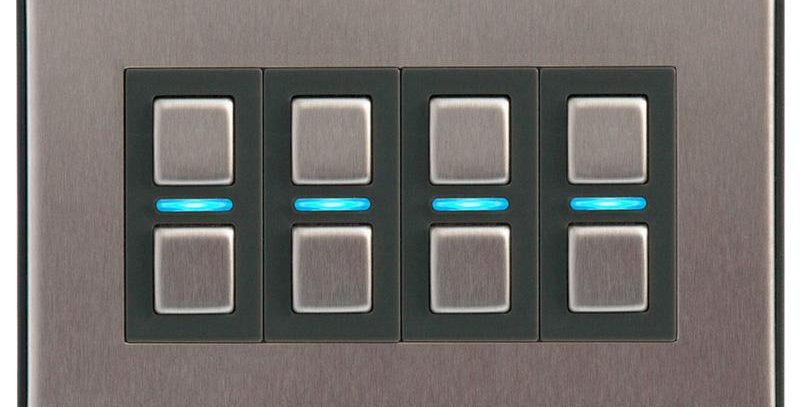Întrerupător inteligent dimabil fără nul, 4 acționări, Lightwave, HomeKi