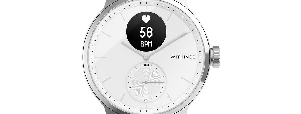 Smartwatch Withings Scanwatch, EKG, puls, saturatie de oxigen, 38/42mm