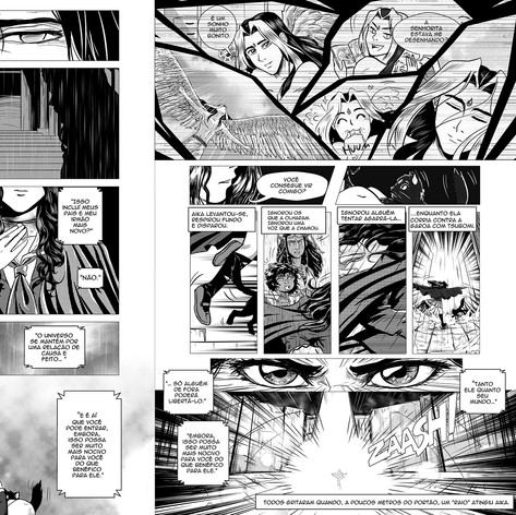 Página dupla em HQ para o livro Aika - A canção dos Cinco